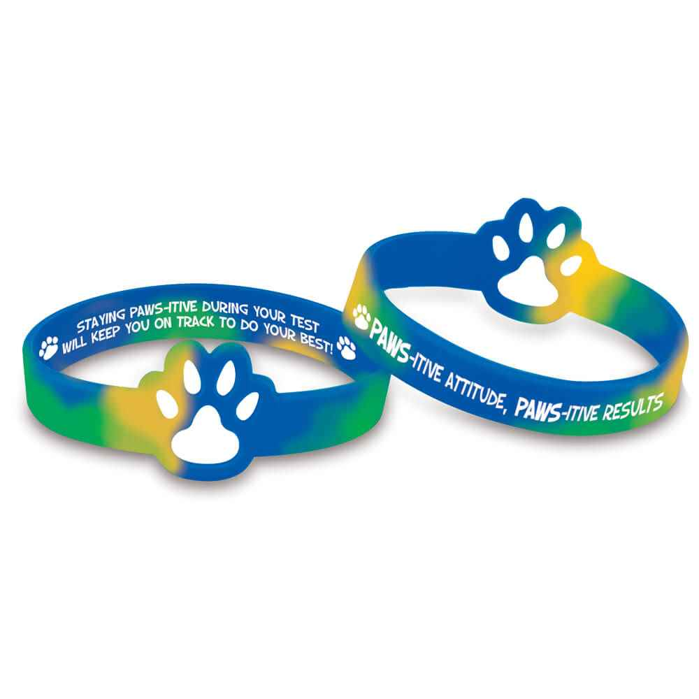 Pawsitive Attitude, Pawsitive Results Die-Cut Paw Silicone Bracelets - Pack of 10