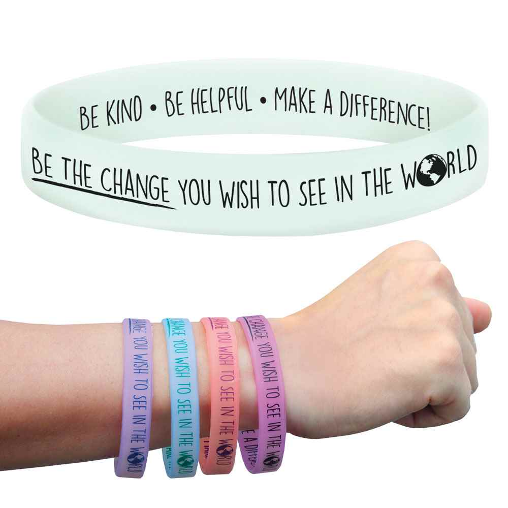 Be The Change You Wish To See In The World UV Color-Changing 2-Sided Silicone Bracelet 25-Piece Assortment Pack