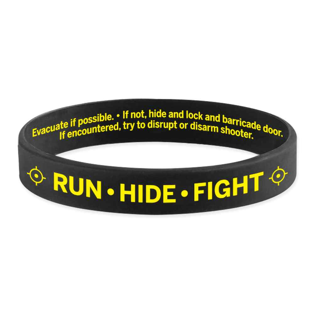 Run - Hide - Fight Silicone Awareness Bracelet