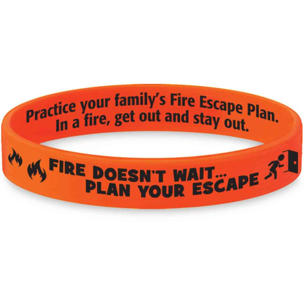 Fire Doesn't Wait...Plan Your Escape Fire Safety Mood-Changing Silicone Bracelet - 25 Per Pack