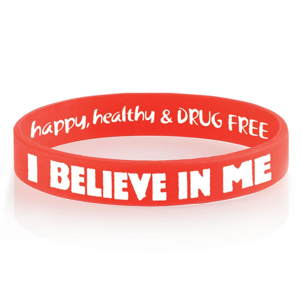 I Believe In Me Happy, Healthy & Drug Free 2-Sided Silicone Bracelets - Pack of 25