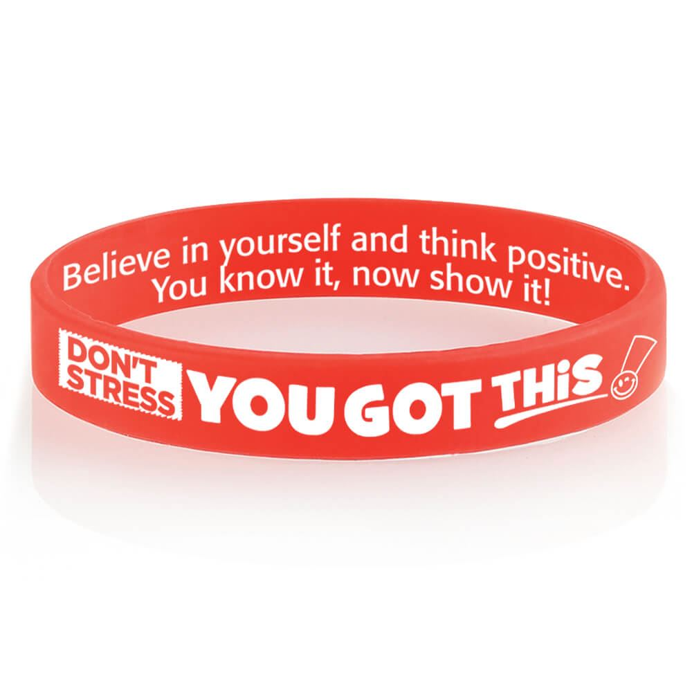 Don't Stress, You Got This! 2-Sided Silicone Bracelets - Pack of 10