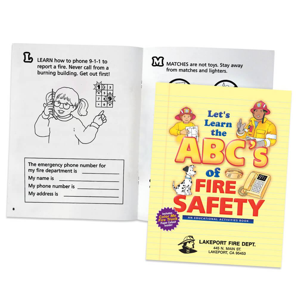 Let's Learn The ABC's Of Fire Safety With Pop-Out Fire Truck Educational Activities Book - Personalization Available