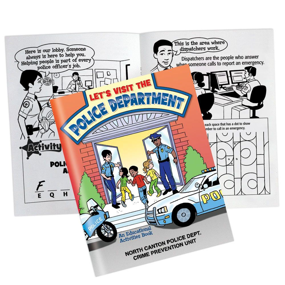 Let's Visit The Police Department Educational Activities Book With Police Car Paper Cutout - Personalization Available