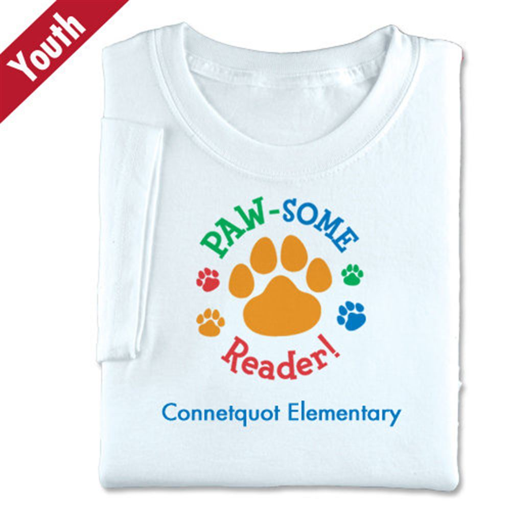 Paw-Some Reader! (White) Youth T-Shirt - Personalization Available