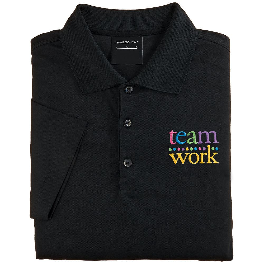 Teamwork Women s Nike Micro Pique Polo T-Shirt (Black)  93f991e075