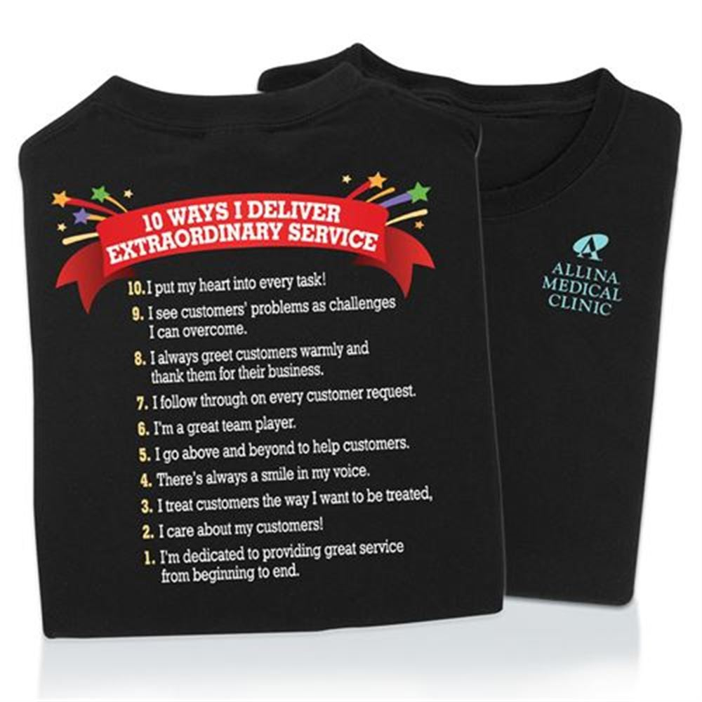 10 Ways I Deliver Extraordinary Service 2-Sided T-Shirt - Personalization Available