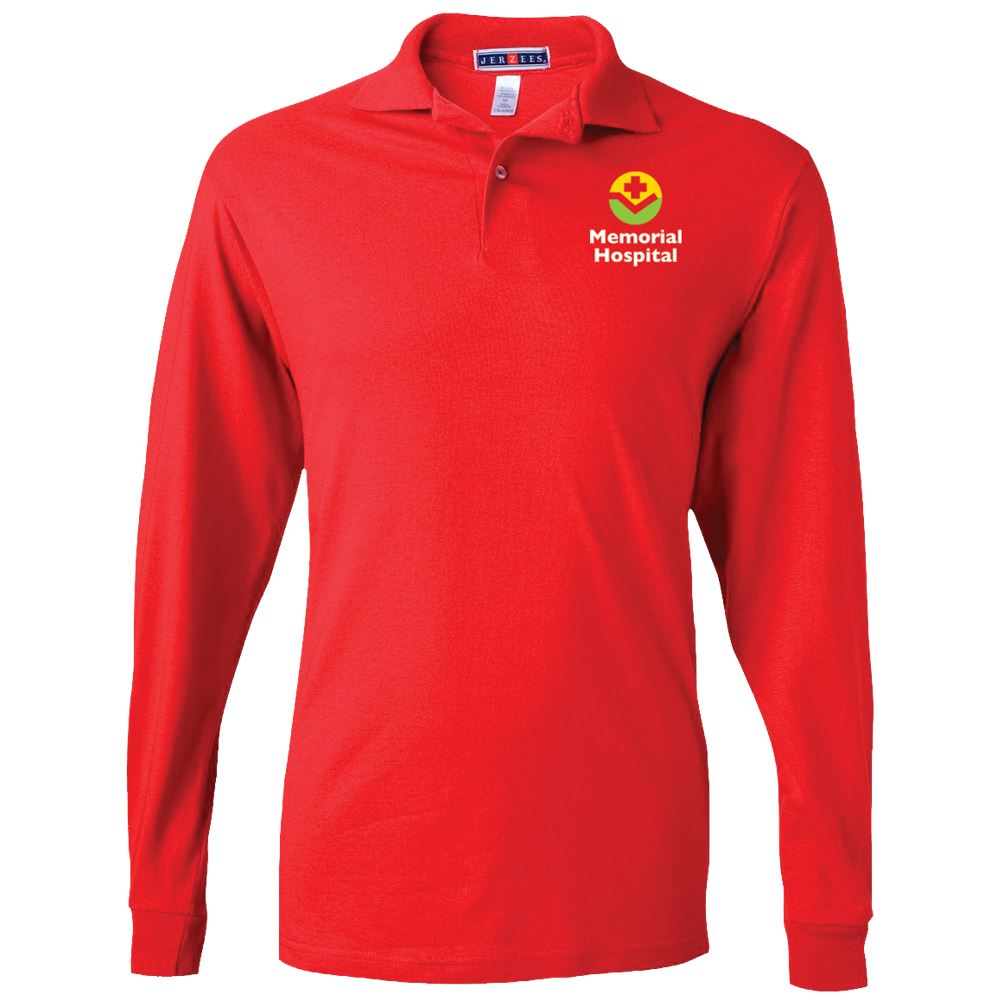 Jerzees® Adult 50/50 Long-Sleeve Jersey Polo with SpotShield™ - Embroidery Personalization Available