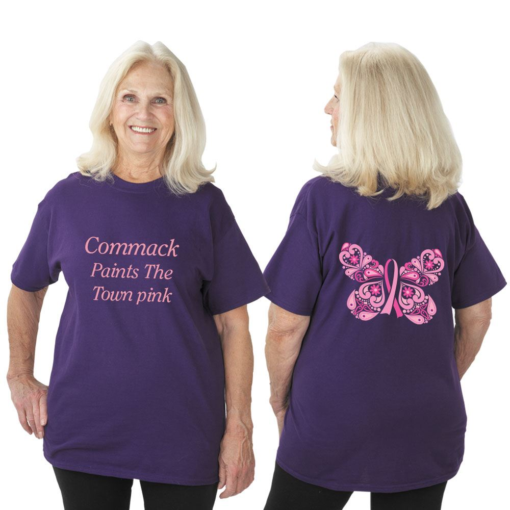 Butterfly Ribbon Awareness T-Shirt With Personalization