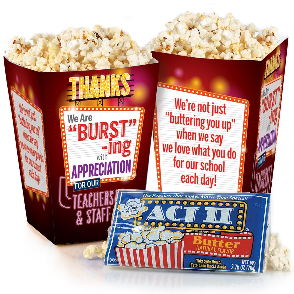 We Are Bursting With Appreciation For Our Teachers & Staff Popcorn Snack Pack