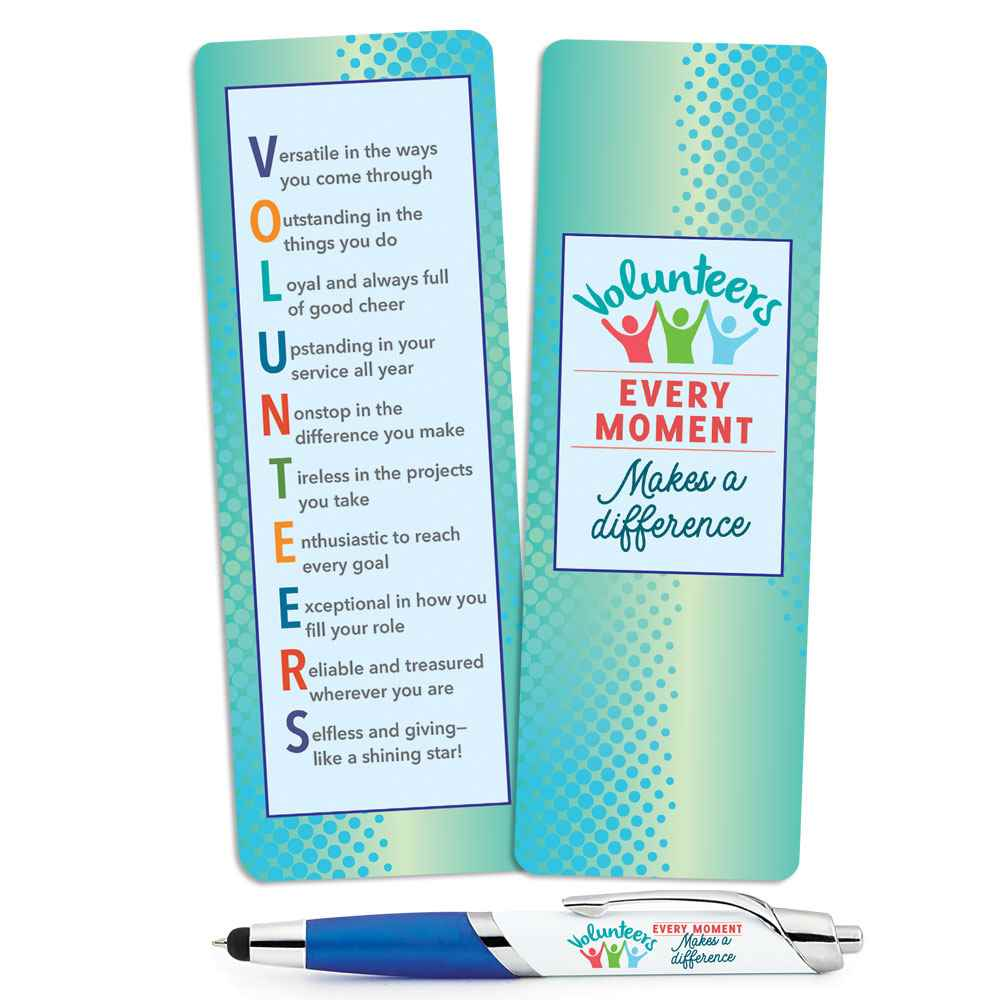 Volunteers: Every Moment Makes A Difference Deluxe Bookmark & Pen Gift Set