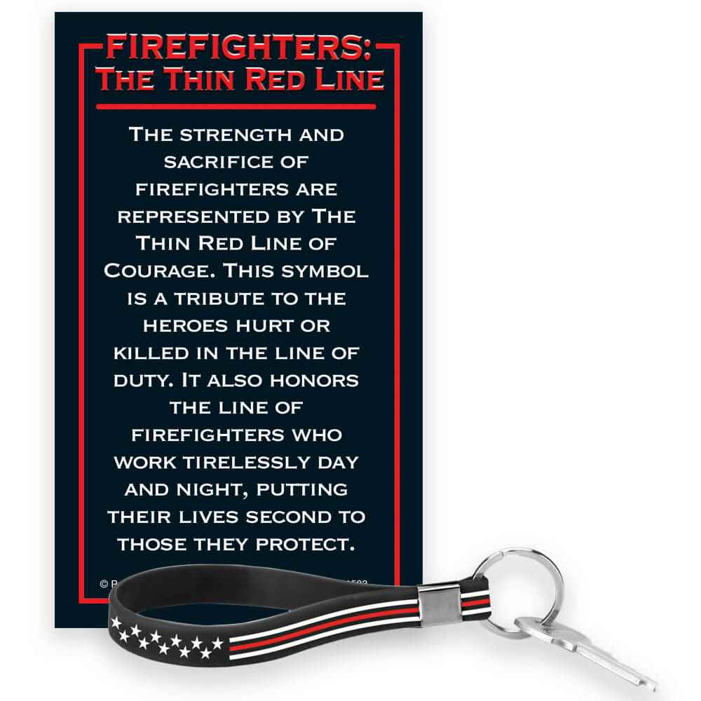 The Thin Red Line Key Tag Bracelet with Presentation Card