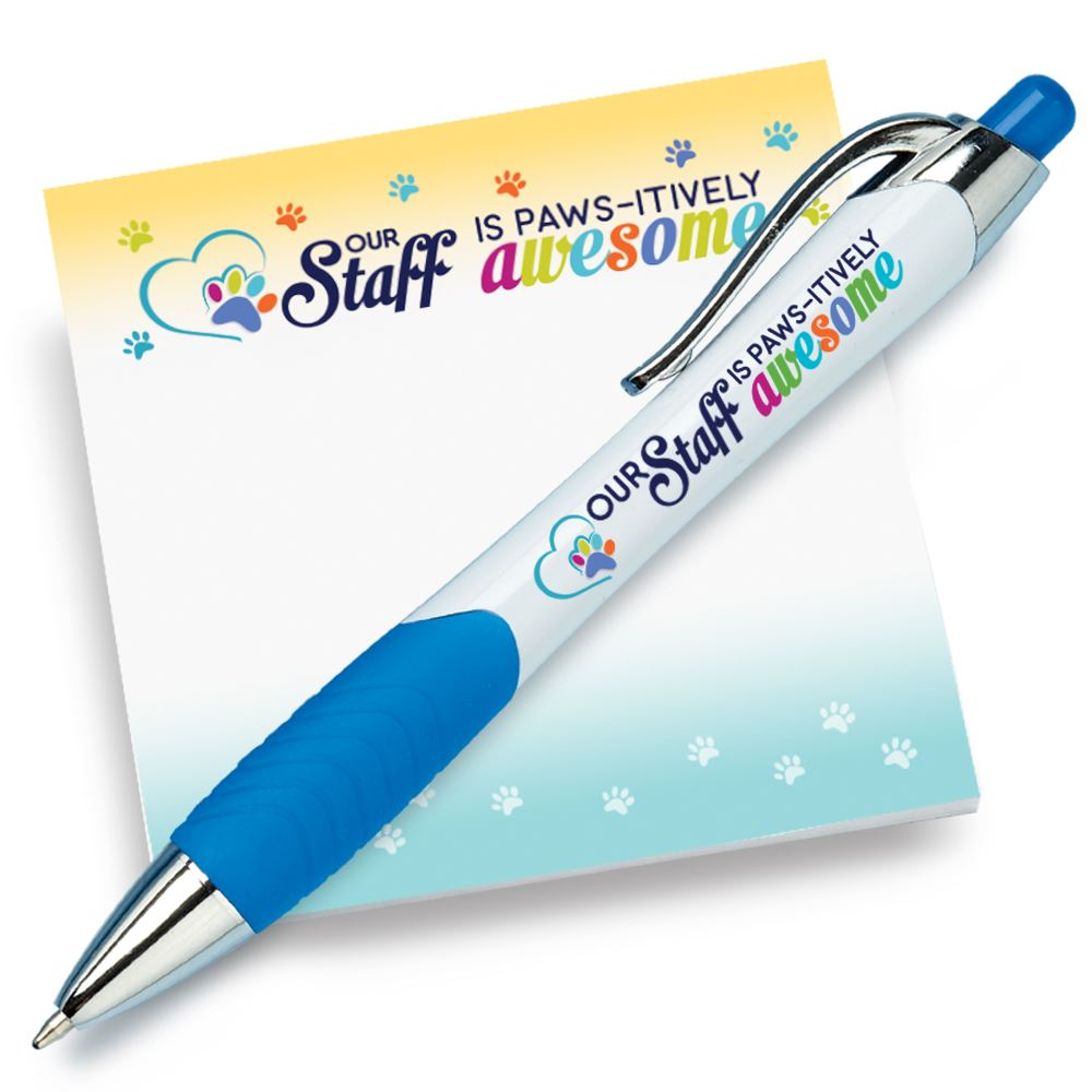 Our Staff Is PAWS-itively Awesome Sticky Pad & Pen Combo Set