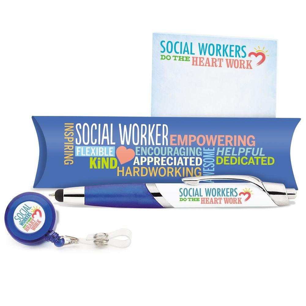 Social Worker Badge Holder, Aventura Stylus Pen & Sticky Pad Gift Set