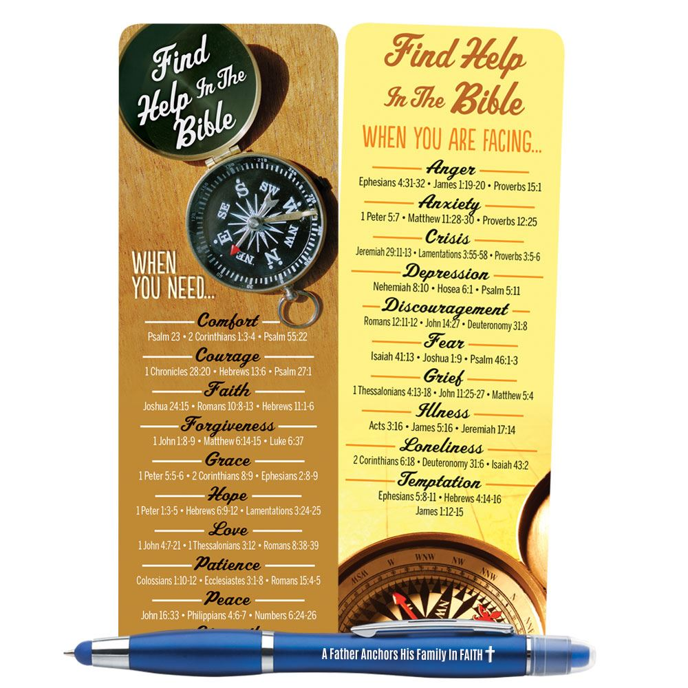Find Help In The Bible Father's Deluxe Bookmark & 3-In-1 Pen/Stylus/Highlighter Gift Set