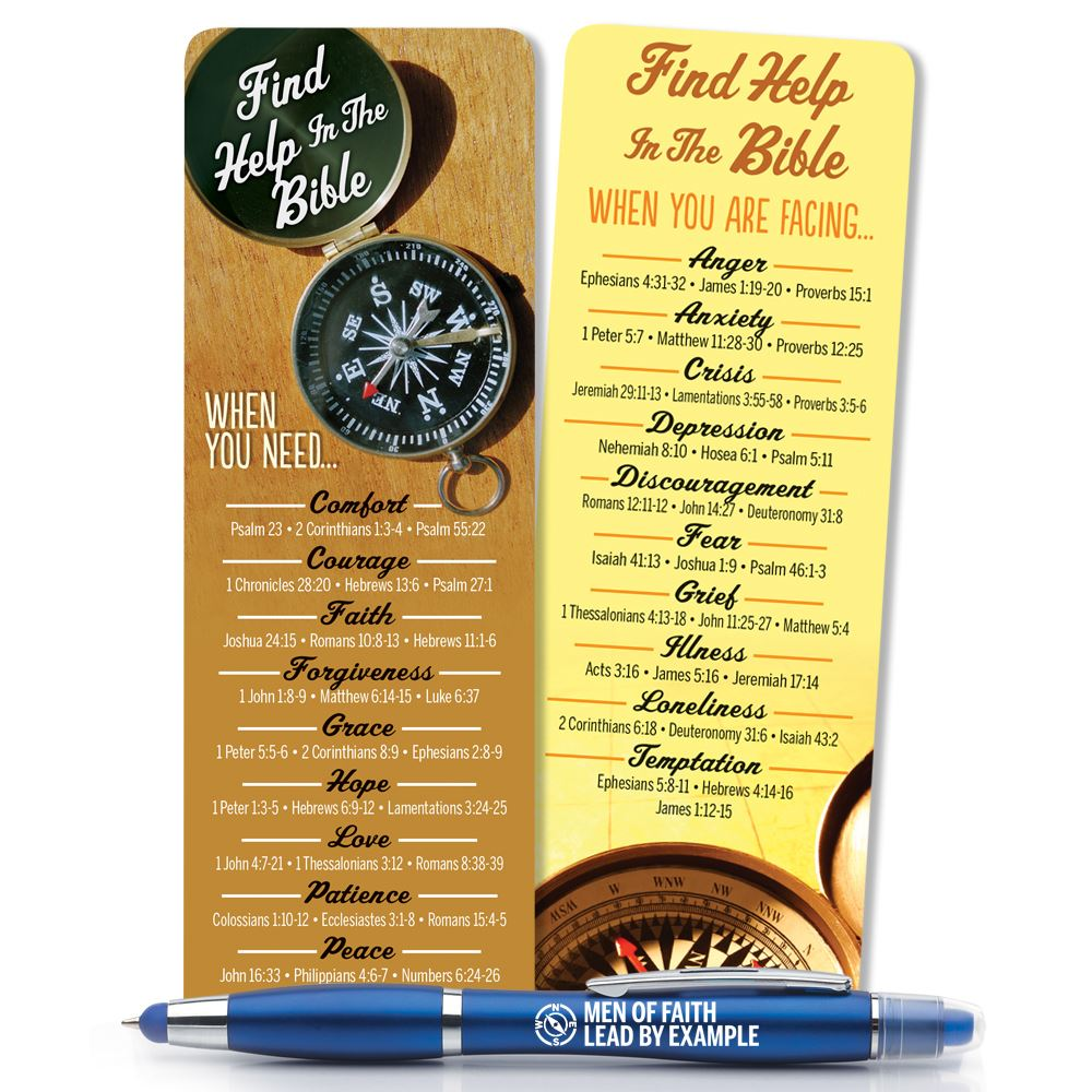 Find Help In The Bible Men's Deluxe Bookmark & 3-In-1 Pen/Stylus/Highlighter Gift Set