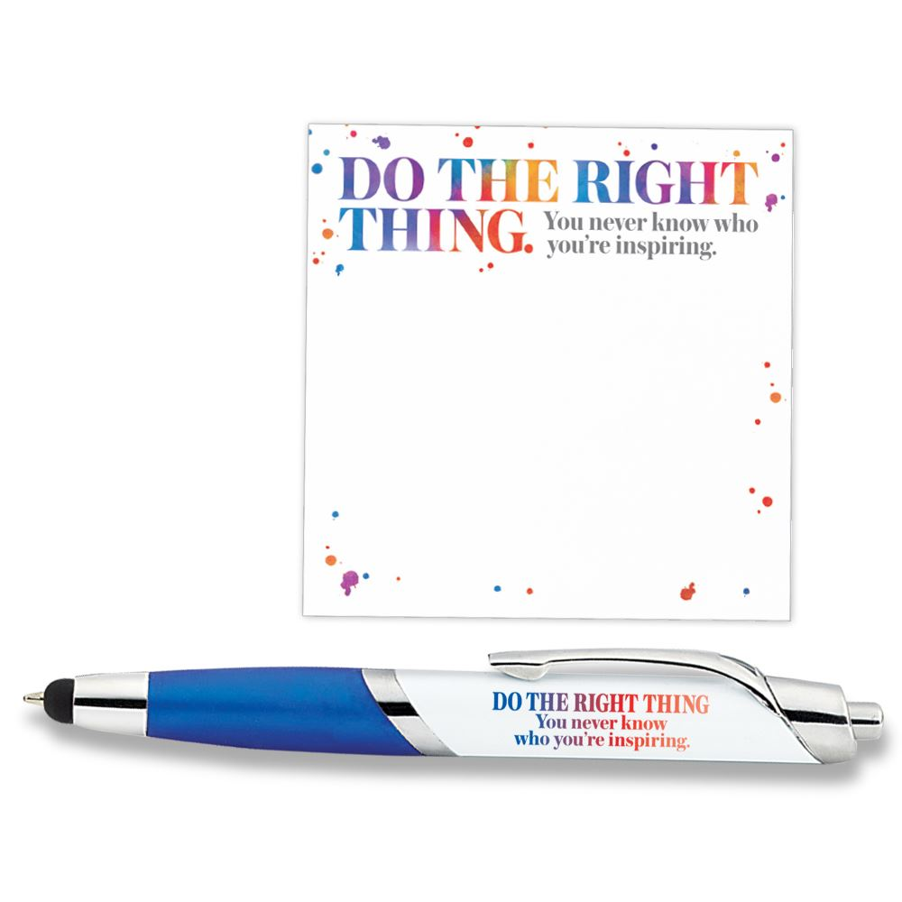 Do The Right Thing. You Never Know Who You Are Inspiring Sticky Pad & Aventura Stylus Pen