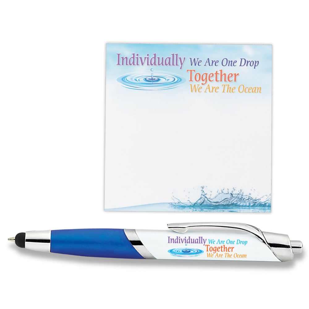 Individually We Are One Drop Together We Are The Ocean Sticky Pad & Aventura Stylus Pen