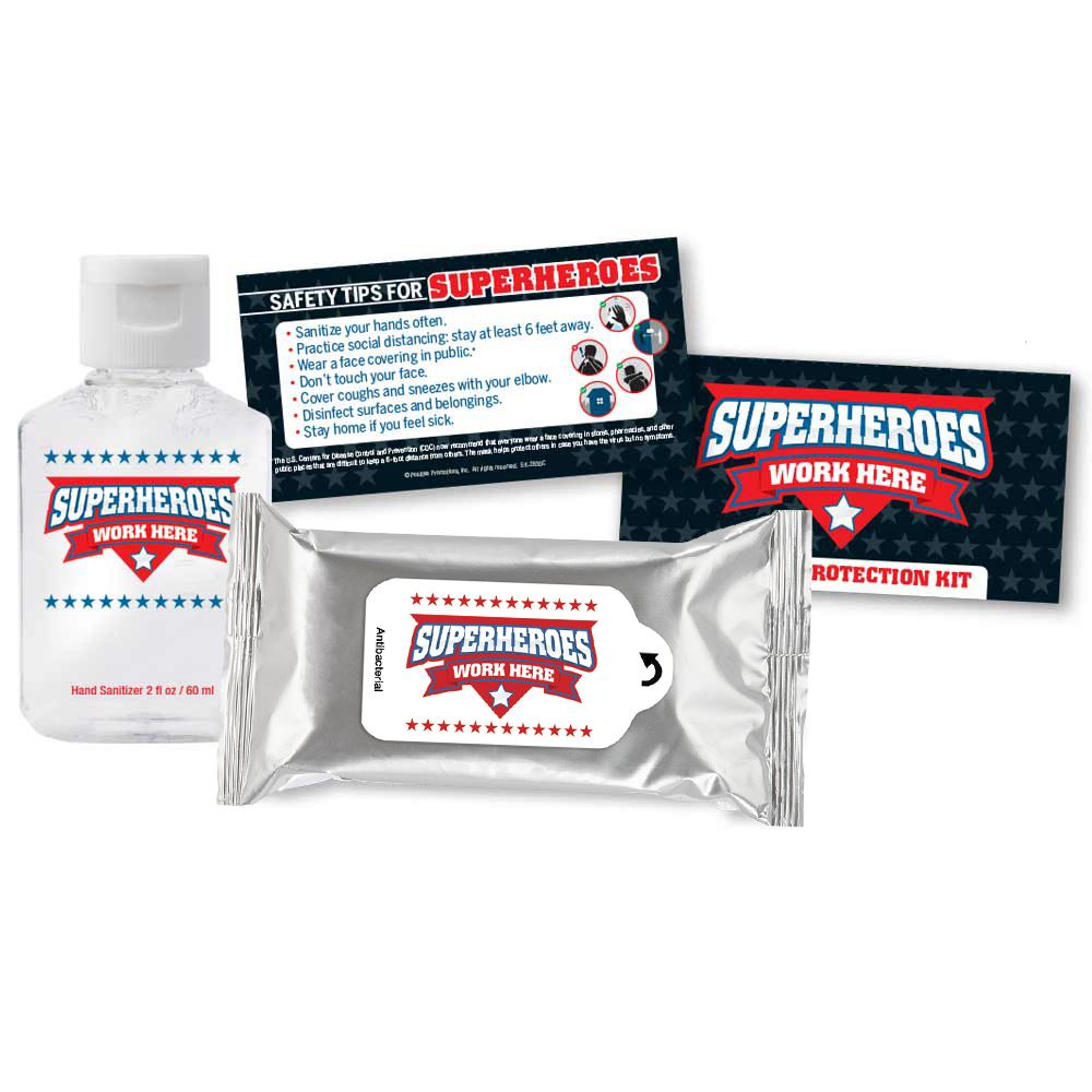 Superheroes Work Here Positive Message Antibacterial Wet Wipes & 2 Oz. Hand Sanitizer Gel Protection Kit