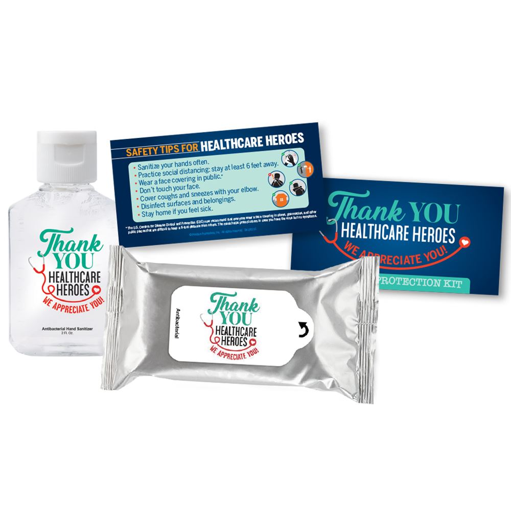 Thank You Healthcare Heroes We Appreciate You Positive Message Antibacterial Wet Wipes & 2-Oz. Hand Sanitizer Gel Protection Kit