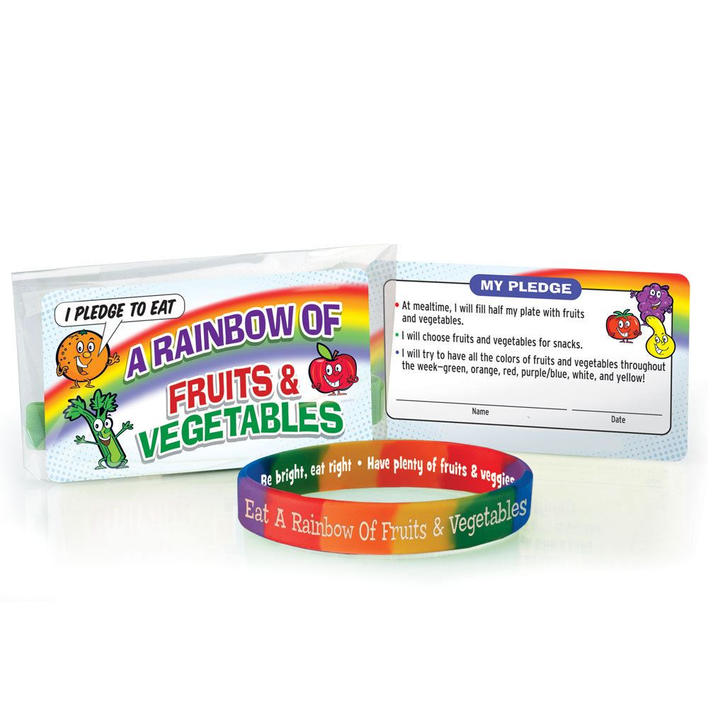 Eat A Rainbow Of Fruits & Vegetables Silicone Bracelet And Pledge Card