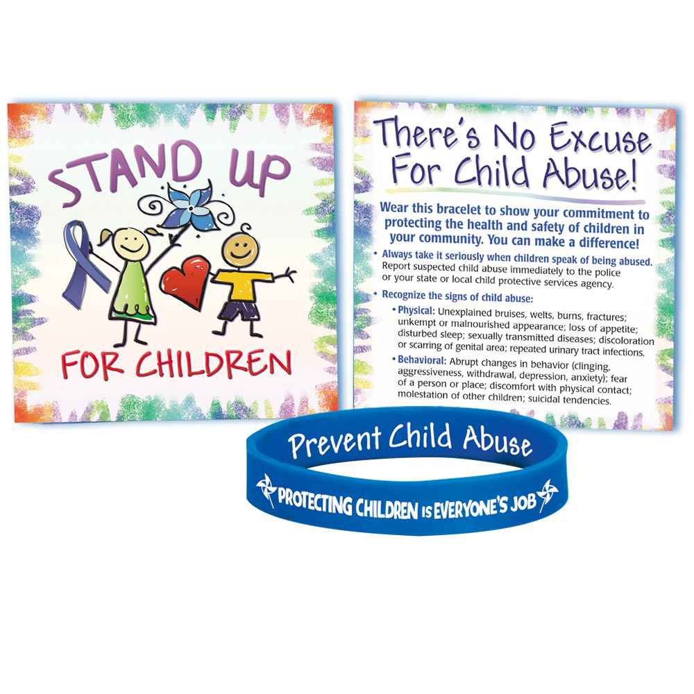Protecting Children Is Everyone's Job Silicone Bracelet With Card - Pack of 10