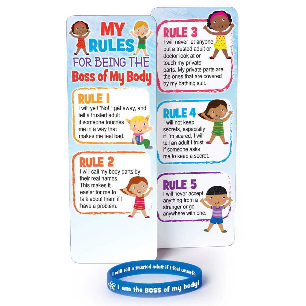 Child Abuse Prevention Awareness Bookmark With Silicone Bracelet - Pack of 10