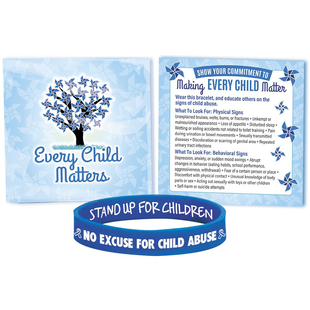 No Excuse For Child Abuse Awareness Silicone Bracelet With Prevention Tips Card - Pack of 10