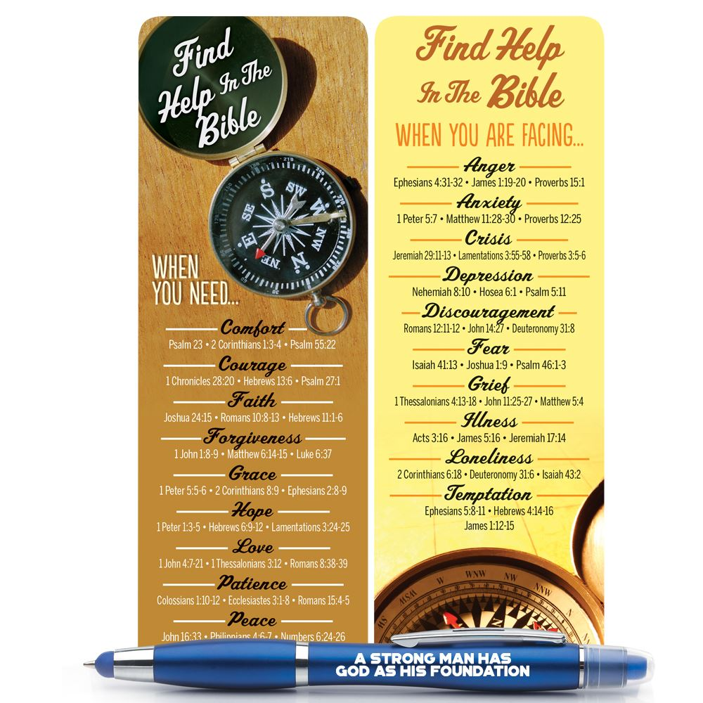 Find Help In The Bible Men's Deluxe Bookmark & 3-in-1 Pen/Stylus/Highlighter Gift Set