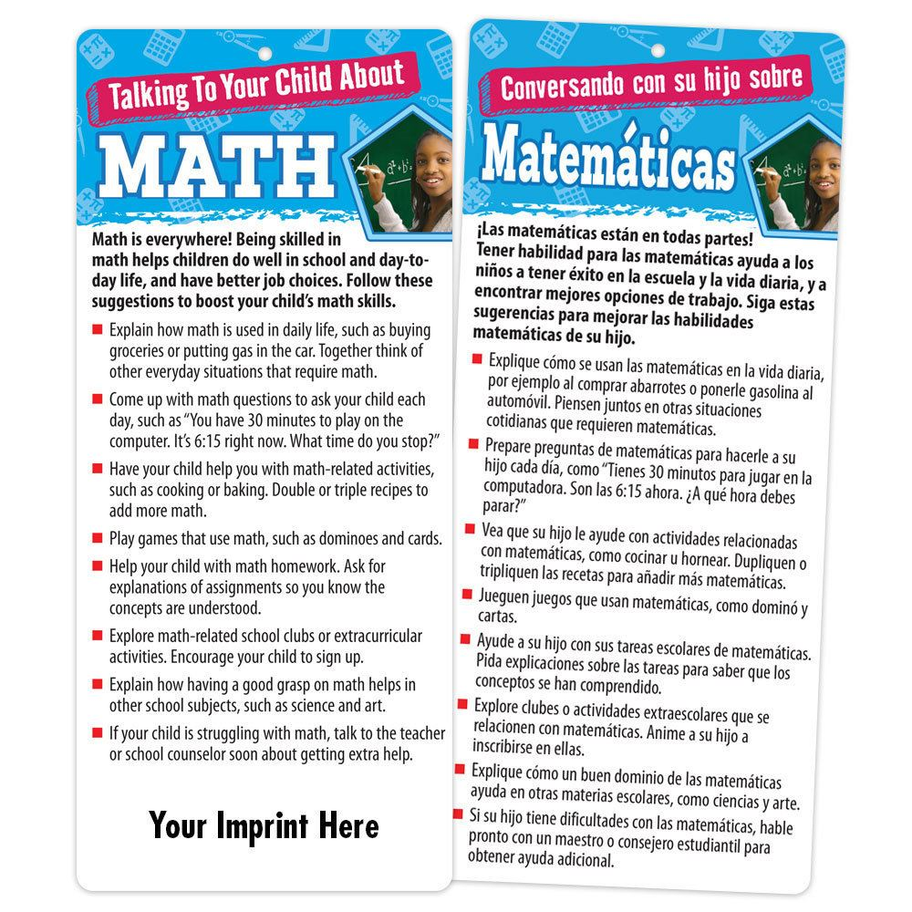 Talking To Your Child About Math Two-Sided Bilingual Glancer With Magnet - Personalization Available