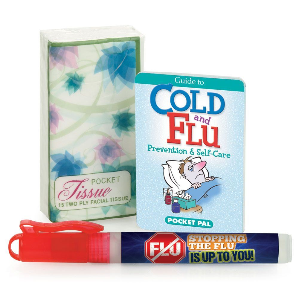 Tissue Pack, Cold & Flu Prevention Pocket Pal, & Hand Sanitizer Gift Combo - Personalization Available
