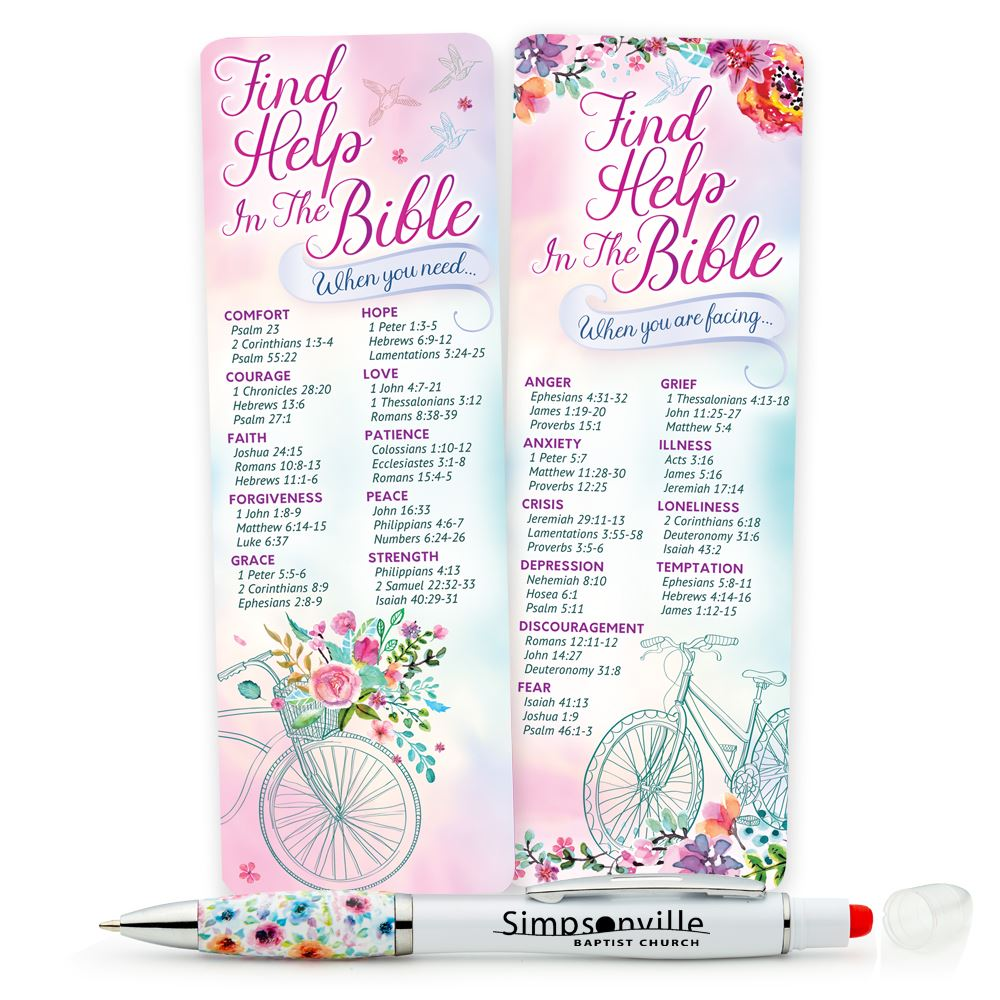 Deluxe Bookmark & Floral Grip Highlighter Pen Gift Set - Personalization Available