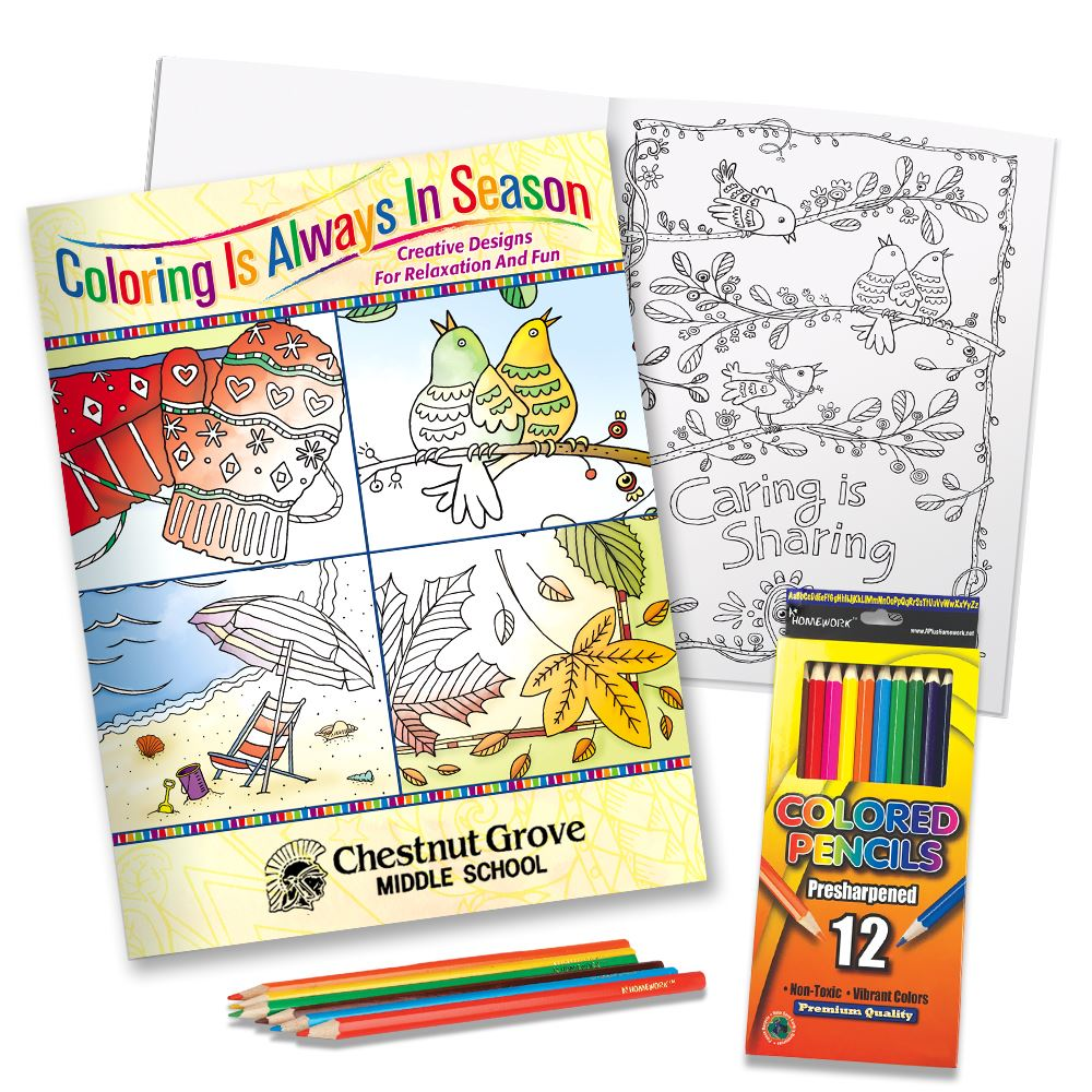 Coloring Is Always In Season Adult Coloring Book & Colored Pencils Gift Set - Personalization Available