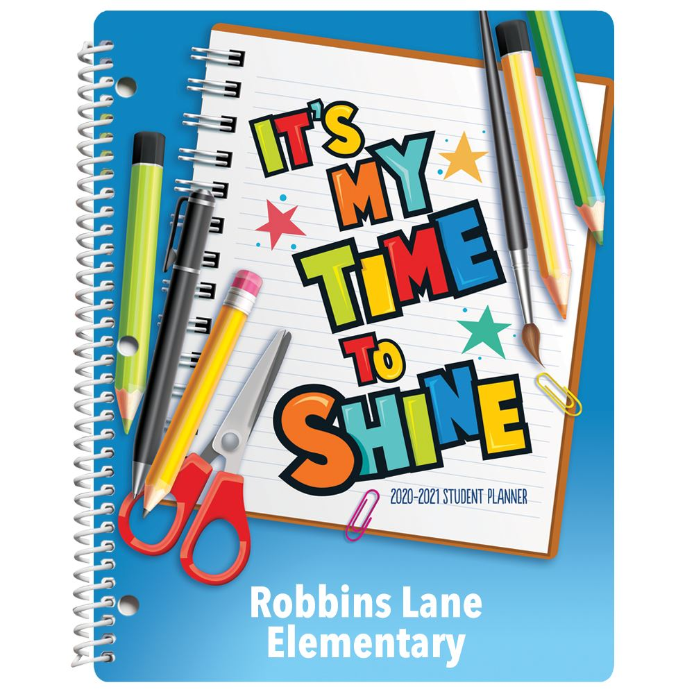 It's Time To Shine Elementary School Student Planner - Personalization Available