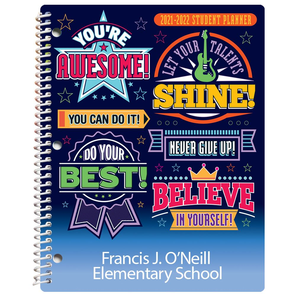 Awesome, Shine, Best, Believe Elementary School Student Planner