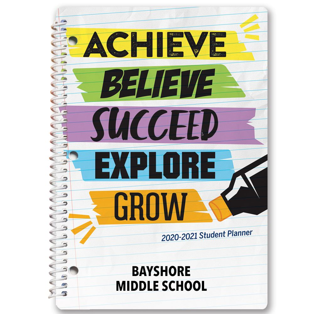 Achieve, Believe, Succeed, Explore, Grow Middle School Student Planner - Personalization Available
