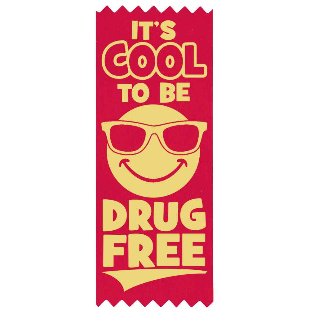 It's Cool To Be Drug Free Self-Stick Red Satin Gold Foil-Stamped Ribbons - Pack of 100