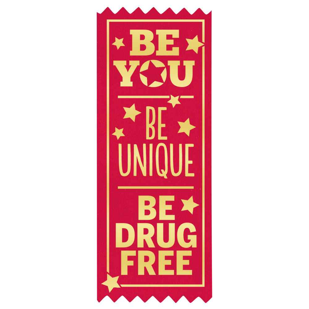 Be You Be Unique Be Drug Free Self-Stick Red Satin Gold Foil-Stamped Ribbons - Pack of 100