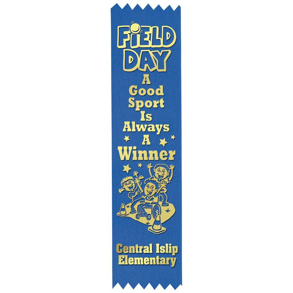 Blue Custom-Foil Ribbon With Self-Stick Backing - Personalization Available