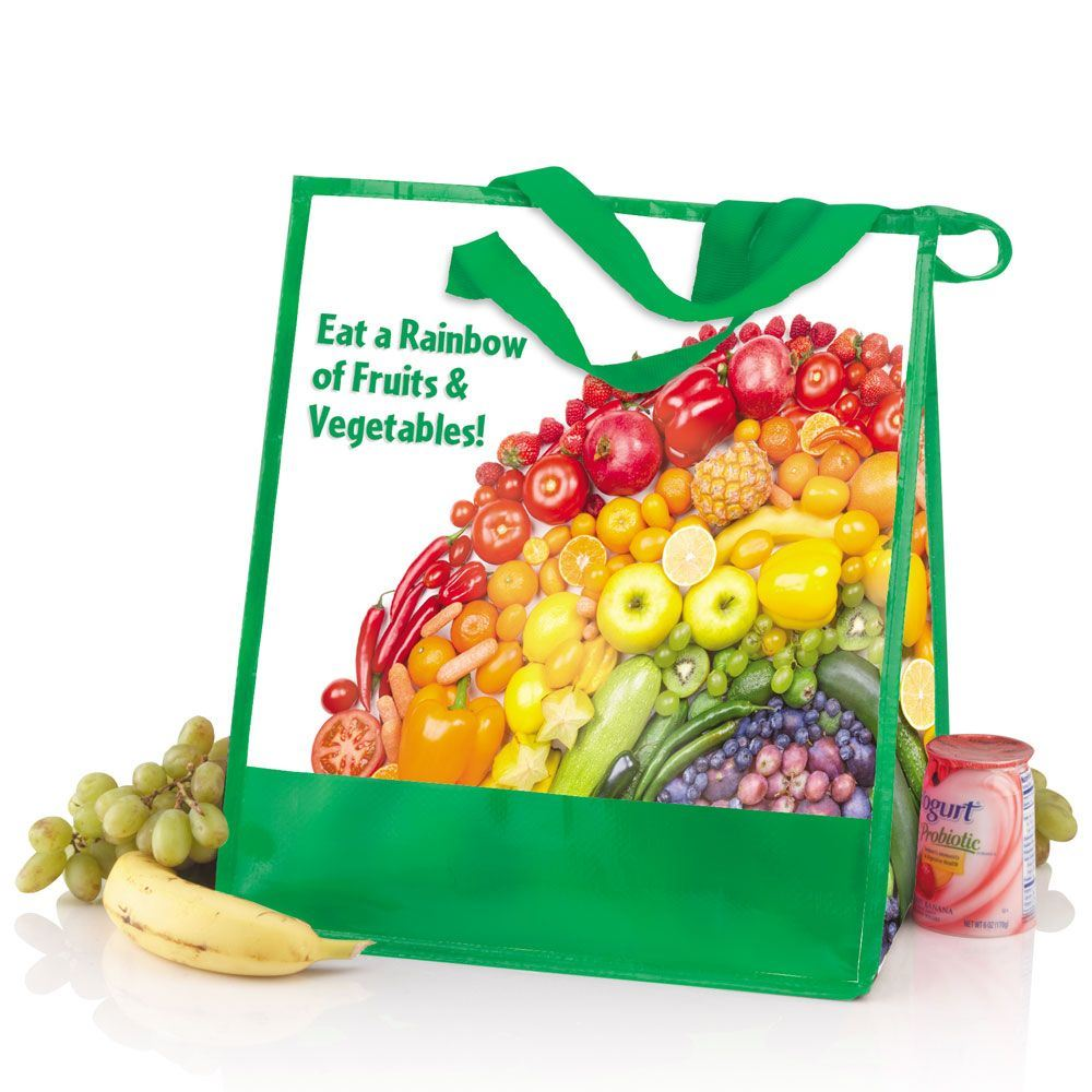 Eat A Rainbow of Fruits & Veggies Laminated Insulated Eco-Shopper Tote