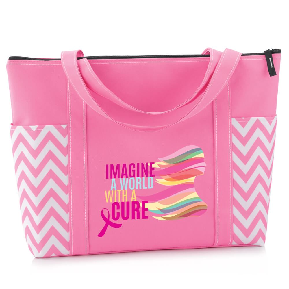 Imagine A World With A Cure Pink Chevron Tote