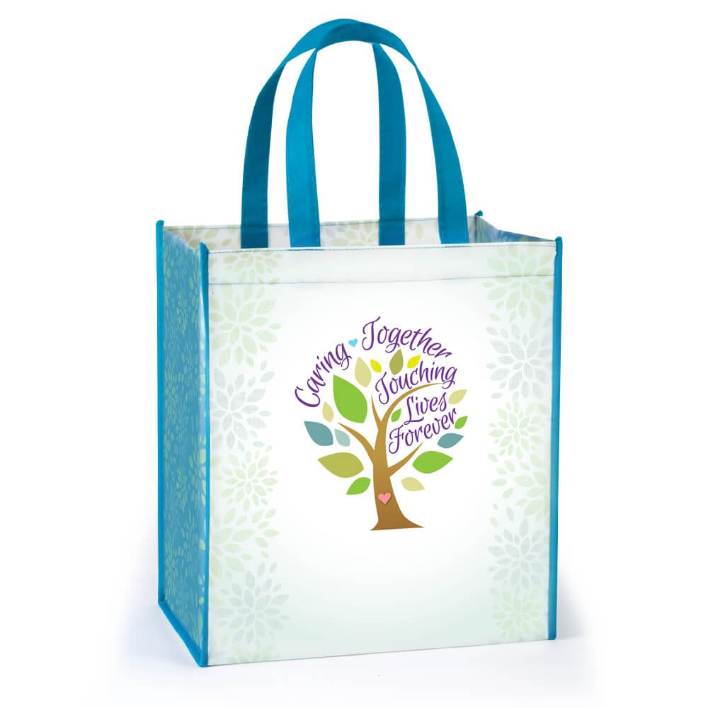 Caring Together, Touching Lives Forever Full-Color Laminated Non-Woven Tote