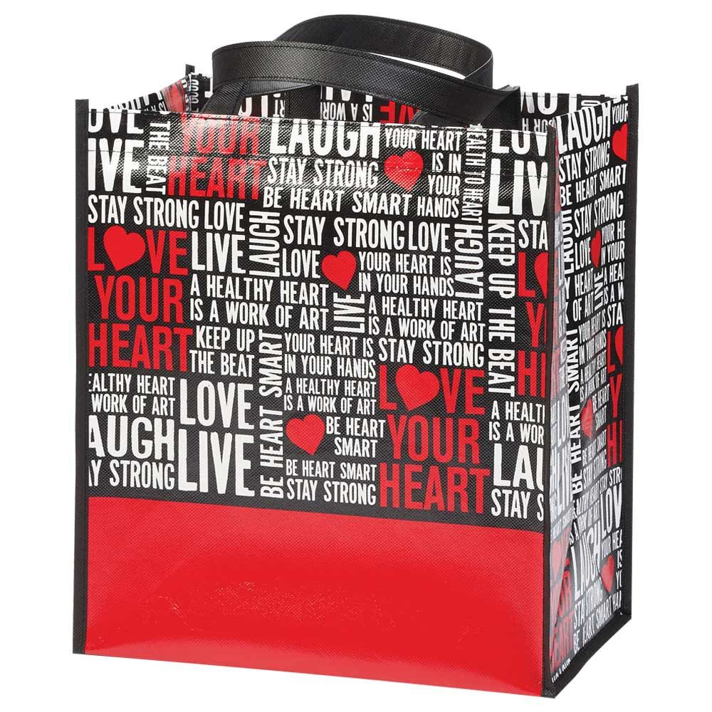 Love Your Heart Word Cloud Non-Insulated Laminated Eco-Shopper Tote