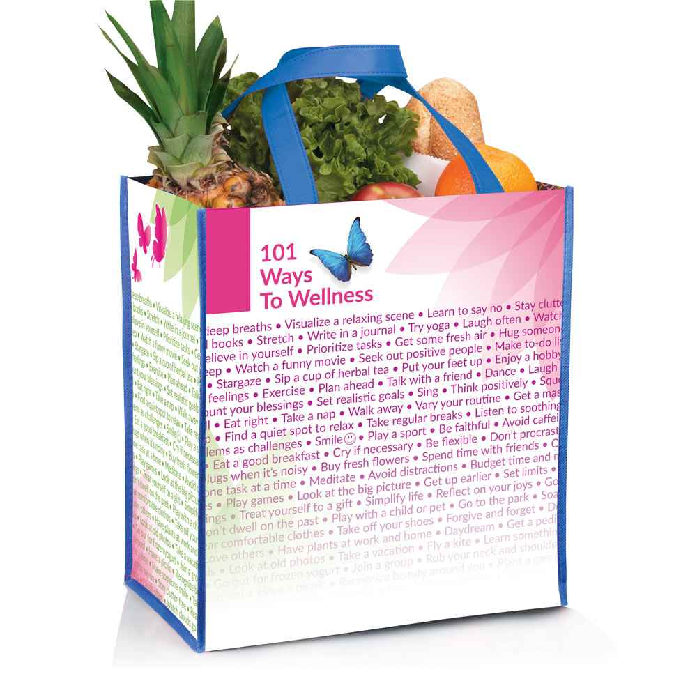 101 Ways To Wellness Non-Insulated Laminated Eco-Shopper Tote
