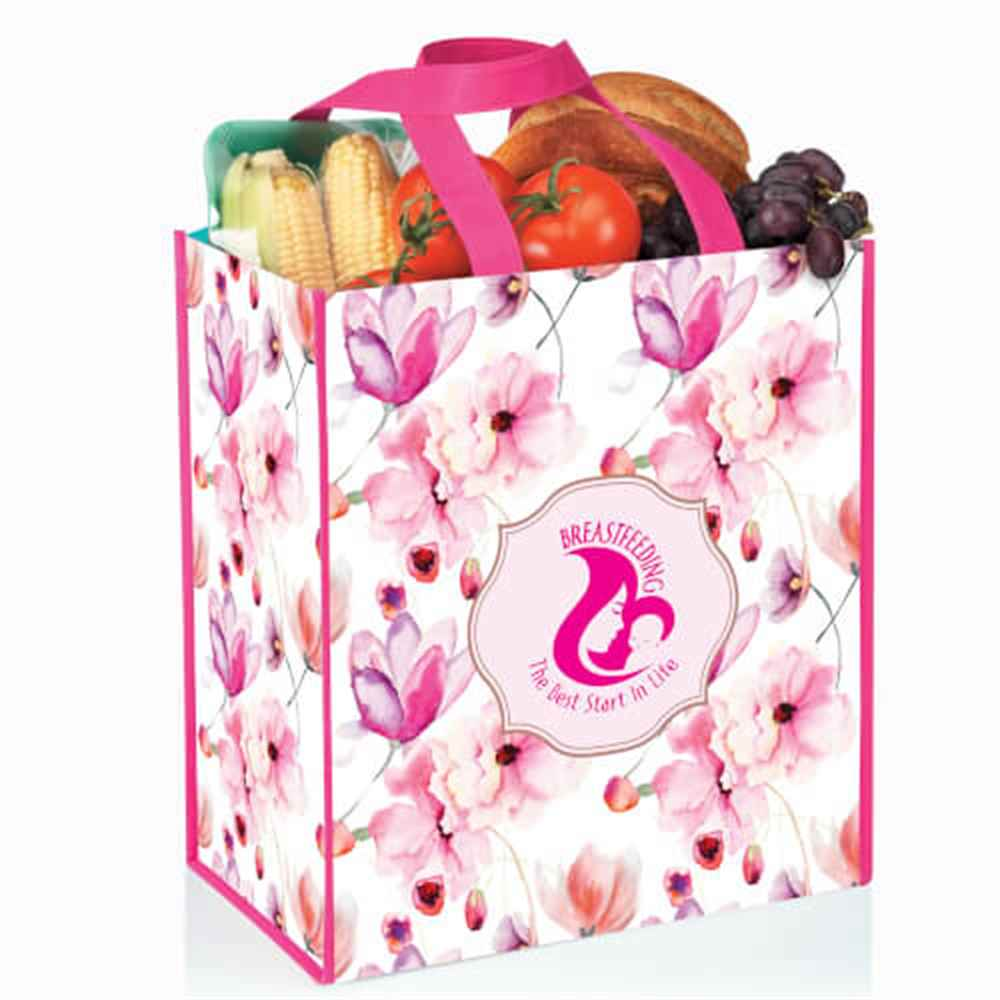 Breastfeeding The Best Start In Life Floral Non-Woven Laminated Tote Bag