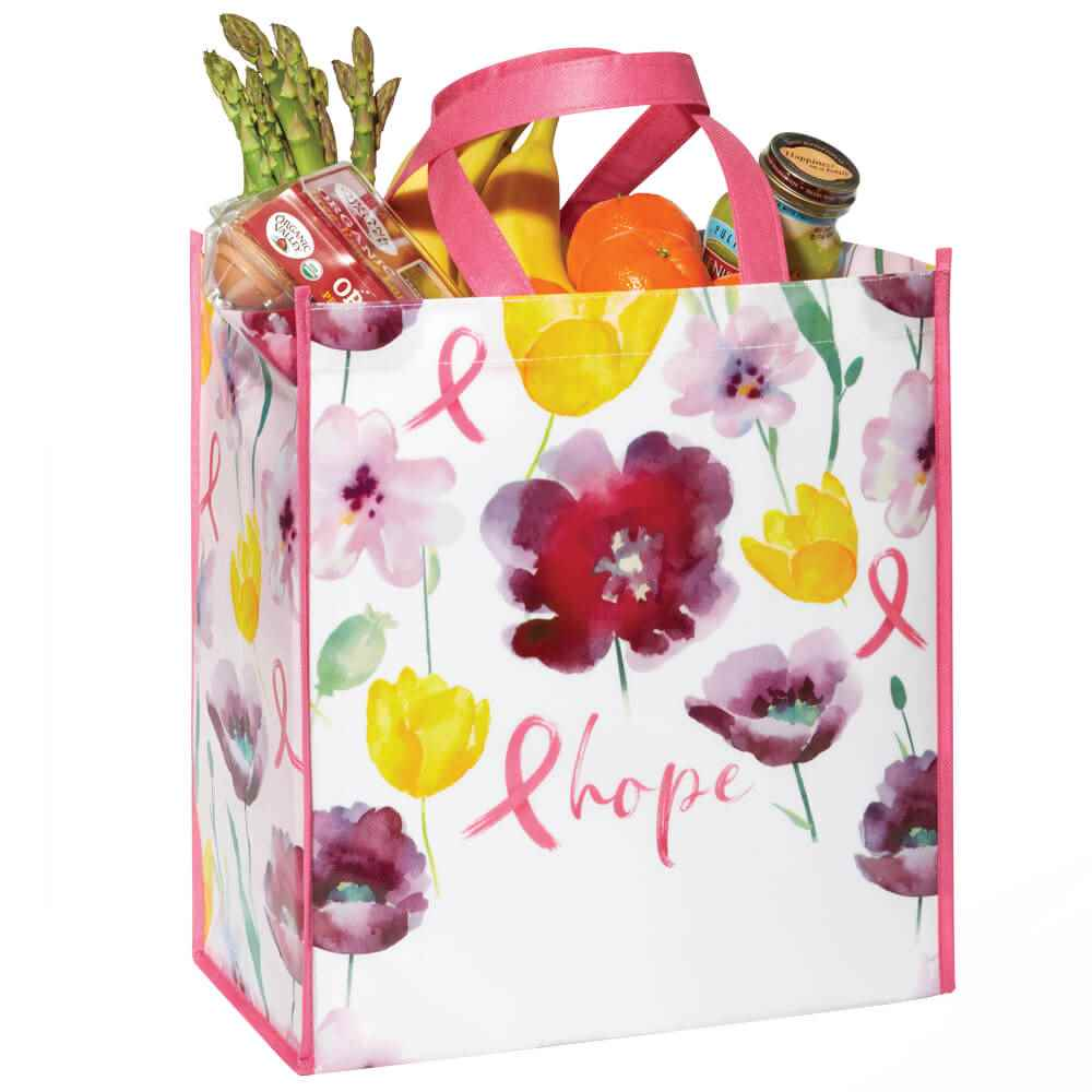 Floral/Hope Non-Insulated Laminated Eco-Shopper Tote