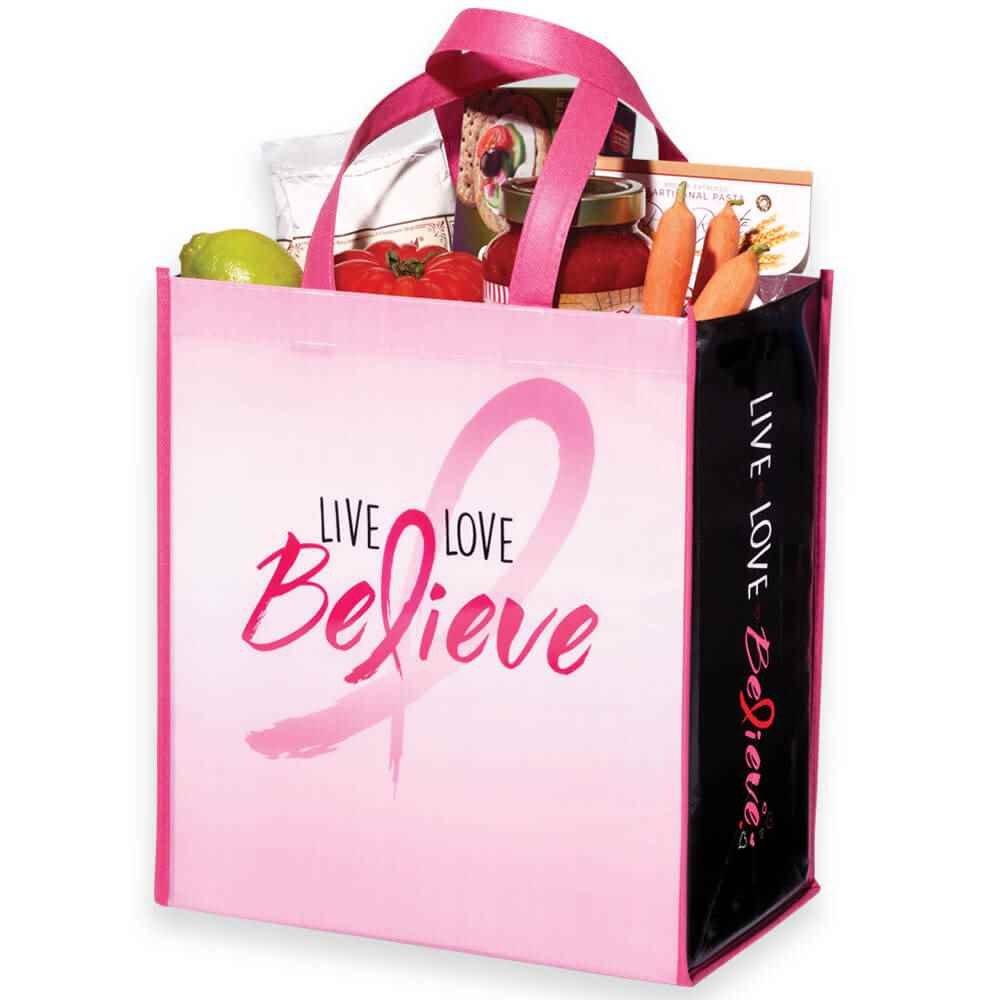 Live, Love, Believe Non-Insulated Laminated Eco-Shopper Tote