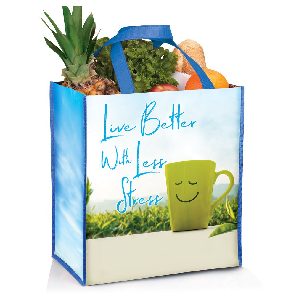 Live Better with Less Stress Full-Color Laminated Eco Shopper Tote