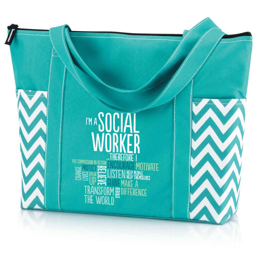 I'm A Social Worker Therefore I .... Blue Chevron Tote Bag