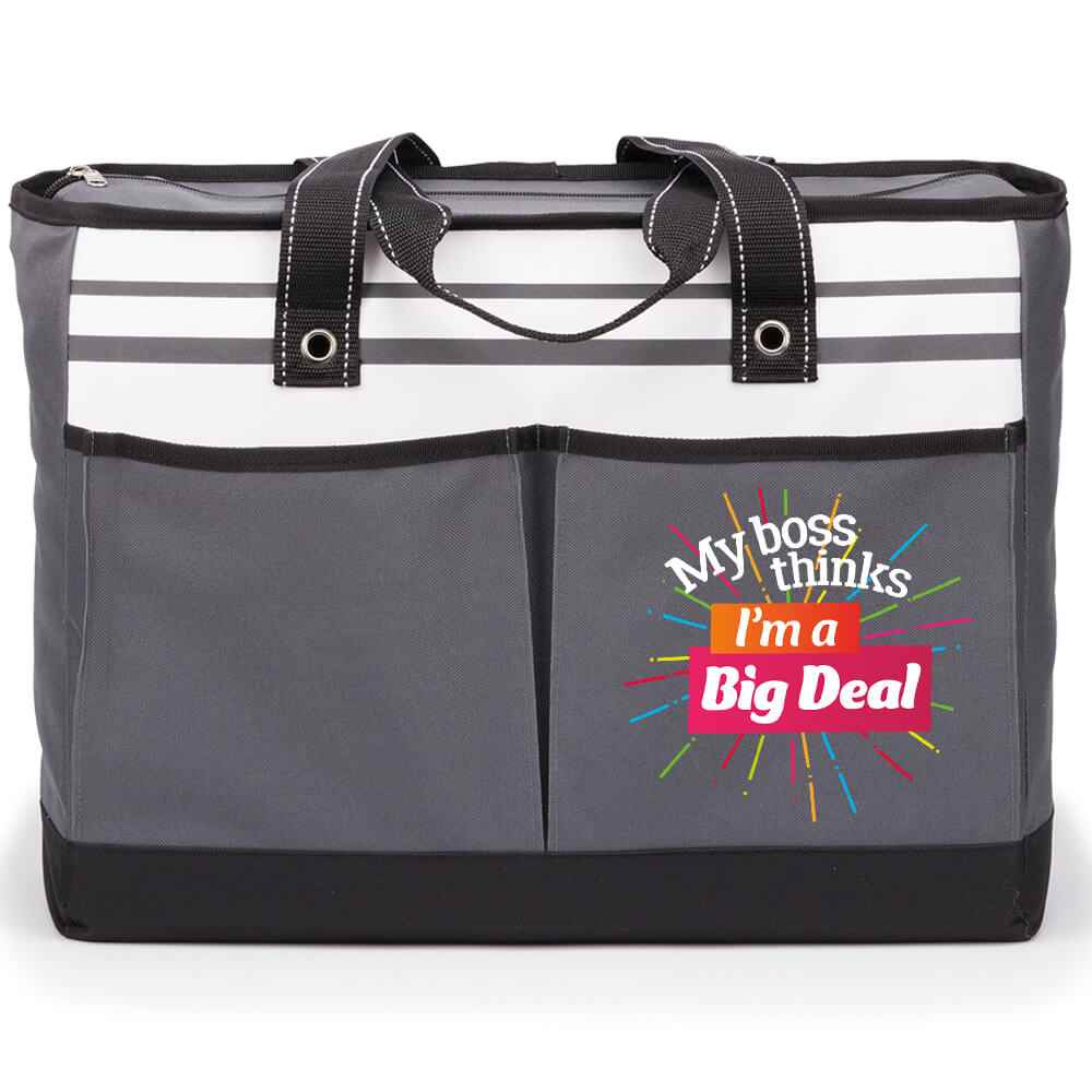 My Boss Thinks I'm A Big Deal Traveler Two-Pocket Tote Bag